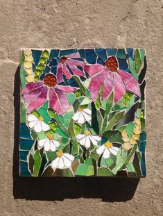 Come flowers Stained Glass Mosaic Wall Art door MaitriMosaics Mosaic Artwork, Mosaic Wall Art, Glass Wall Art, Mosaic Mirrors, Custom Stained Glass, Stained Glass Art, Mosaic Glass, Mosaic Birdbath, Mosaic Crafts