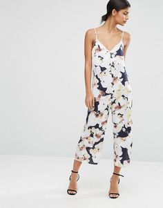 768ac04b92f Satin Jumpsuit in Oversized Floral