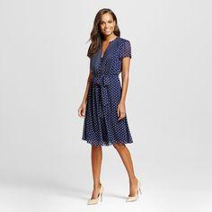 Women's Ditsy Printed Pleated Woven Shirt Dress Navy/Café 14 - Chiasso, Blue