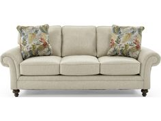 Broyhill Furniture Larissa Upholstered Stationary Sofa with Rolled Arms - Baer's Furniture - Sofas
