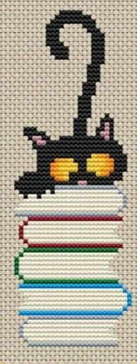 This Pin was discovered by Nük Cat Cross Stitches, Cross Stitch Books, Cross Stitch Bookmarks, Cross Stitch Cards, Cross Stitching, Cross Stitch Embroidery, Embroidery Patterns, Hand Embroidery, Cross Stitch Designs