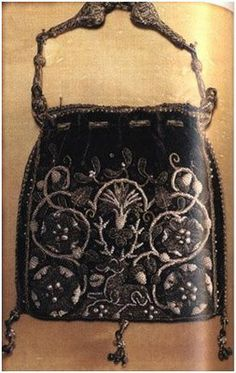Embroidered 'sweetbag' of Elizabeth I, c. 1585-90  purple velvet embroidered with gold and silver thread and pearls.