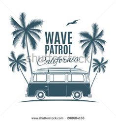 Vintage, retro surf van with palms and a gull. Handdrawn t-shirt graphic, print. Vector illustration. - stock vector