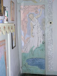 Door, oil on wood, painted by Angelica Bell, 180 cm x cm. Vanessa Bell, Bloomsbury Group, Charleston Homes, Decoration, Wall Murals, Interior And Exterior, Painted Furniture, Shabby, Wallpaper