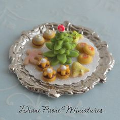 6 Loose Dolls House Miniature Poached Pear and Cherry Tart on a platter