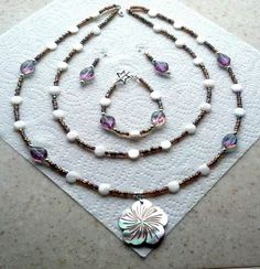 MOP Shell Hibiscus Pendant 2Strand Necklace Bracelet & by Eagle414, $49.95
