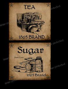 Vintage, Primitive Style Sugar, Tea  Label  ~ Instant Download ~ FH228