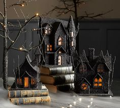 Glittery black Halloween putz houses