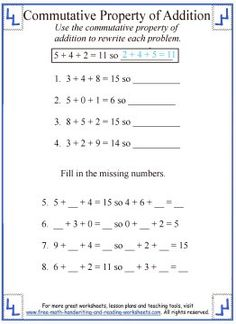 math worksheet : commutative property of addition worksheet 2  places to visit  : Properties Of Addition And Subtraction Worksheets