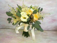 Romantic bridal bouquet with vuvuzela roses, lisianthus, ranunculus, astillbe and eucalypthus. Wedding Bride, Wedding Flowers, Ranunculus, Floral Arrangements, Brides, Bouquet, Romantic, Table Decorations, Weddings