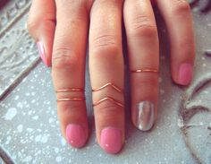 5 Rose Gold Above Knuckle Rings Adjustable von PricklyHearts