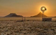 Photo by Rob Southey Photography. Climax Windmill in full sun, captured one winters morning in the Great Karoo, a thin layer of cloud diffuses the warm light after sunrise. Beautiful World, Beautiful Places, Beautiful Farm, Farm Windmill, Old Windmills, Wind Of Change, Thing 1, Out Of Africa, Le Moulin