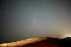 Star fields twinkle over Ramon Crater in Mitzpe Ramon, Israel, during the annual meteor shower