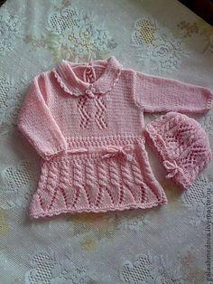 """платье и береточка """"Нежное прикосновение"""" - бледно-розовый,комплект для девочки"""