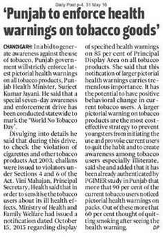 Punjab to enforce health 'warning on tobacco goods'. #WeSupportSAD #ShiromaniAkalidal
