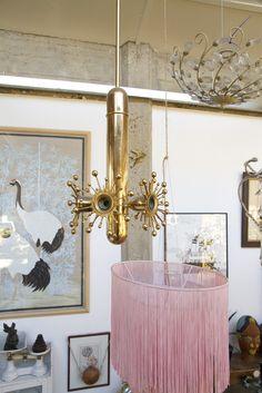 1960s vintage, gilt, pendant lamp. Pendant Lamp, 1960s, Chandelier, Ceiling Lights, Lighting, Vintage, Home Decor, Candelabra, Decoration Home