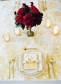 Yellow toile tablescape inspiration.  Event designer: Shannon Leahy Events, photo: Josh Gruetzmacher.