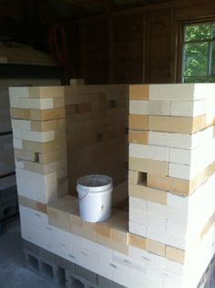 York, ME potter Amy Clark had 7 pallets of brick from a kiln she dismantled and moved from upstate NY. Original kiln was a large 6 burner downdraft walk-in. New design is a crossdraft sprung. Pottery Kiln, Raku Kiln, Brick, The Originals, Pallets, Wood, Amy, Design, Bending