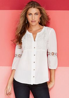 Mya Crochet Button-Front Blouse - xl