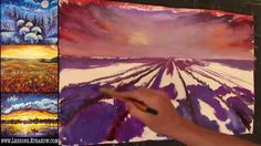 Free Oil Painting Lesson In Real Time - Lavander field on sunset