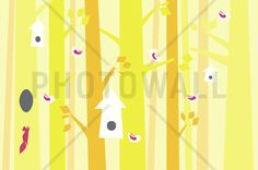 Birdforest - Yellow and Pink - Fototapeter & Tapeter - Photowall