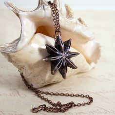 Copper Charm Pendant - Preserved Star Anise on Copper Cable Chain