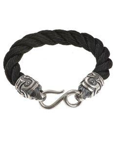 Hoye Division black hemp rope bracelet with Silver Tiki ends