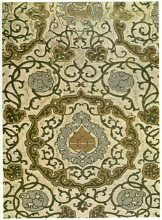 Velvet (portion), showing pattern in green pile and loops of metal thread on cream silk ground.  Middle of 16th century, Venice  Museo Civico, Turin.