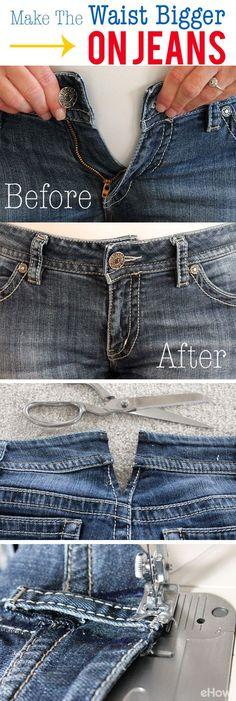 Useful Clothing Hacks Every Women Should Know How to Make the Waist Bigger on Jeans: Never throwing out jeans that are too small in the waist, you can try this easy sewing hack to adjust the waist. Sewing Hacks, Sewing Tutorials, Sewing Patterns, Sewing Tips, Knitting Patterns, Sewing Alterations, Clothing Alterations, Shirt Alterations, Diy Kleidung