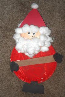 Paper Plate Santa #kids