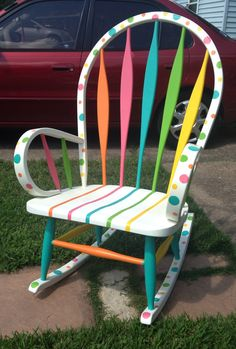 My new and improved DIY hand painted teacher chair! Teacher Rocking Chairs, Painted Teacher Chair, Painted Kids Chairs, Teacher Chairs, Painted Rocking Chairs, Rocking Chair Makeover, Whimsical Painted Furniture, Painted Stools, Hand Painted Furniture