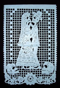 In Mexico, papel picado (perforated paper), refers to the traditional art of decorative cut paper banners. Papel picado are usually cut with sharp fierritos (small chisels) from as many as fifty layers of colored tissue paper at a time. Designs may incorporate lattice-work, images of human and animal figures, flowers, and lettering. Many papel picado are made especially for the Mexican festival of the Days of the Dead and include skeletal figures engaged in everyday activities of the living.