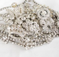 Get 20% Off all items! Use Coupon Code: SPRINGSAVINGS at check out  White Rhinestones Sparkly Craft Jewelry