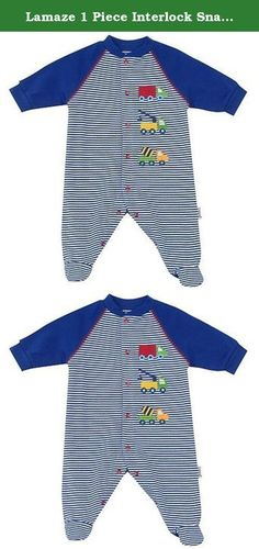 """Lamaze 1 Piece Interlock Snap Sleep N Play """"Stripe with Trucks"""" - Blue (0-3 Months). It's snuggle time! Cozy baby up in this Lamaze 1-Piece Interlock Snap Sleep 'n Play coverall, crafted from the softest cotton for cuddly comfort. This raglan-sleeve coverall features front and crotch snaps that make changing time effortless; the covered feet are perfect for keeping tiny toes warm. Allover blue stripes combine with multi-colored truck embroidery for a bit of whimsy. Machine wash cold…"""