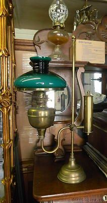 Vintage Duplex England Brass Student Oil Lamp Bankers Desk Green Cased  Glass Shade | EBay