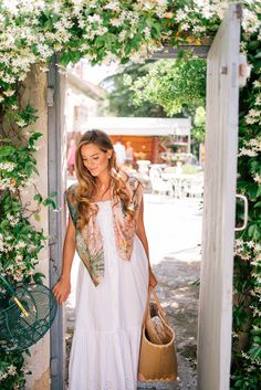 Silk Hermes scarf and white eyelet maxi dress - Julie Engel Gal Meets Glam Gal Meets Glam, Preston, Gucci Scarf, Floral Scarf, Stylish Dresses, Spring Summer Fashion, Street Styles, Summer Outfits, White Dress