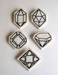 Geometric brooch hand embroidered faux gem by #AnAstridEndeavor
