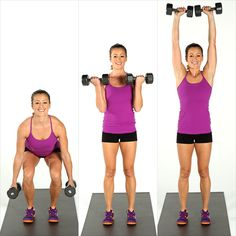 Squat, Curl, and Press: Moving from a squat to an overhead press gets the heart rate going (read: more calories burned) while building shapely glutes and gams.