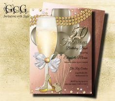 50th Birthday Invitation for Women Fifty by GooseCornerGreetings
