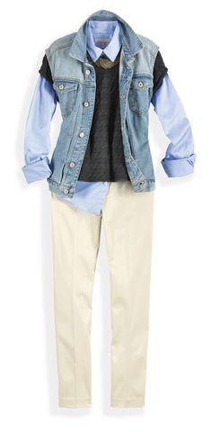 Dale un giro total a una clásica camisa con un suéter y un chaleco por encima de misma. Le puedes doblar las mangas o pararle el cuello para darle más onda.