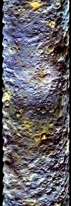 This map-projected view of Ceres was created from images taken by NASA's Dawn spacecraft during its initial approach to the dwarf planet, prior to being captured into orbit in March 2015. The map is an enhanced color view that offers an expanded range of the colors visible to human eyes. Scientists use this technique in order to highlight subtle color differences across Ceres. This can provide valuable insights into the physical properties and composition of materials on the surface.