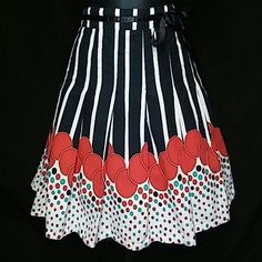 "Pinup high waisted skirt ~NEW LISTING ~ Aline vertical black and white stripes bottom of skirt has red circles with aqua and black polka dots and satin bow attached  Fully lined waist -15"" dbl., length -20 1/2"" Skirts A-Line or Full"