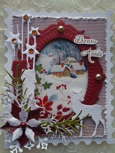 carte de voeux cadre timbre Sizzix Tim Holtz                              …