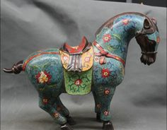 "free shipping  002923 19"" Chinese Folk Cloisonne Purple Bronze Zodiac Year Tang Horse Success Statue"