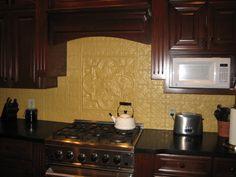 DIY Faux Tin Ceiling Tile Back Splash Easy bathrooms Ceiling