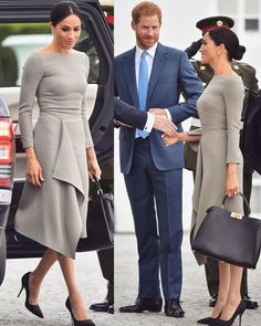Duchess of Sussex (Meghan Markle) in Roland Mouret Estilo Meghan Markle, Meghan Markle Stil, Meghan Markle Dress, Stylish Dresses, Simple Dresses, Stylish Outfits, Casual Dresses, Fashion Dresses, Work Outfits