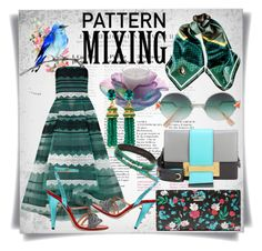 """Pattern Mixing"" by imbeauty ❤ liked on Polyvore featuring Kate Spade, Fendi, Black, NOIR Sachin + Babi, Prada, Daum, Oscar de la Renta, Gucci and patternmixing"