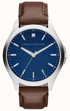 71e2c98bde1 Armani Exchange Mens Brown Leather Strap Blue Dial AX2181