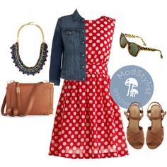 Dislike the shoes but the rest is cute! Too Much Fun Dress in Cherry, created by modcloth on Polyvore