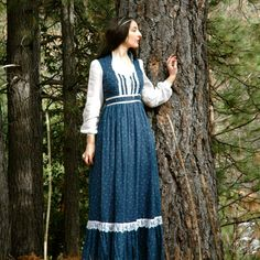 Gunne Sax Maxi Dress... Blue and White Renaissance Dress... MAID MARIAN (xs). $38.00, via Etsy.